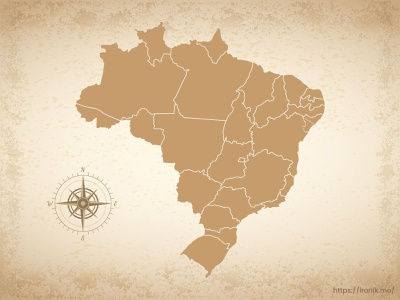 Brazil map illustration old vintage countries map