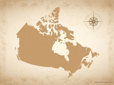Canada map illustration old vintage countries map