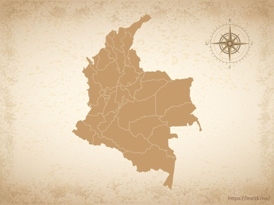Colombia map illustration old vintage countries map
