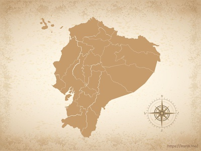 Ecuador map illustration old vintage countries map