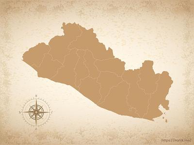 El Salvador map illustration old vintage countries map