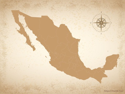 Mexico map illustration old vintage countries map