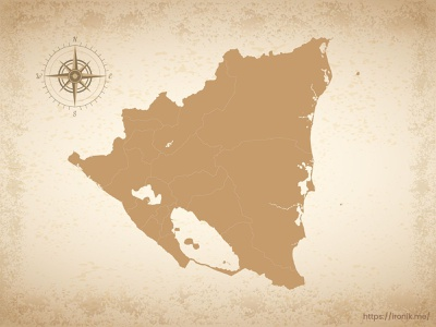 Nicaragua map illustration old vintage countries map