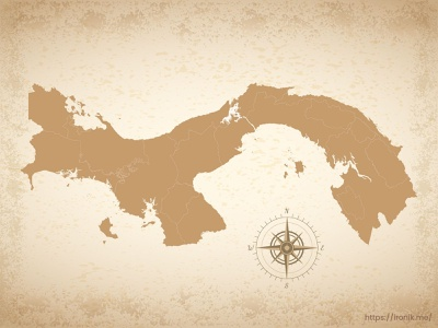 Panama map illustration old vintage countries map