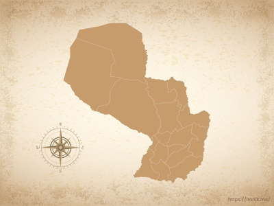 Paraguay map illustration old vintage countries map