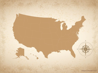 USA map illustration old vintage countries map