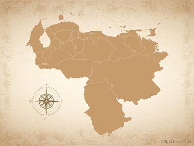 Venezuela map illustration old vintage countries map