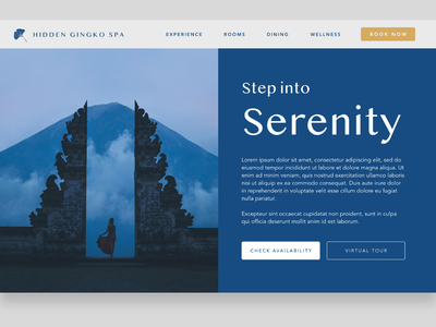 Hidden Gingko Spa - 1 branding bali avenir blue peaceful calm retreat health ui design ux ui website builder website wellness spa