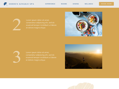 Hidden Gingko Spa - 5 web design webdesign web ui  ux uidesign gold uiux website ui design ui spa retreat peaceful health calm branding bali avenir
