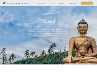 Hidden Gingko Spa - 6 website ui design uidesign ui  ux uiux buddha yoga wellness retreat spa branding bali avenir typography ux vector ui logo illustration design