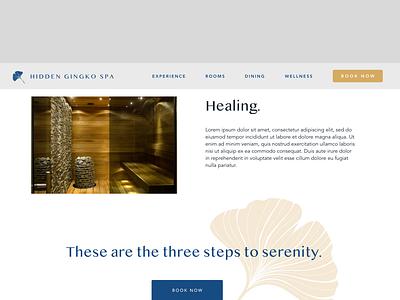Hidden Gingko Spa - 3 uidesign ui  ux uiux web design website design webdesign web health calm website ui ui design spa retreat branding bali avenir