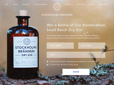Giveaway (Desktop) • Stockholms Branneri Gin daily ui giveaway alcohol gin design dailyui ui  ux uiux website uidesign ui design ui
