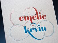 Letterpress printed wedding invitation