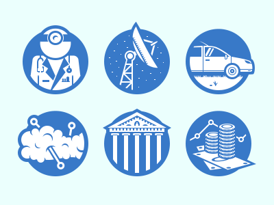 Business Sectors Icons icon flat business doctor medical communication car cloud building money bank