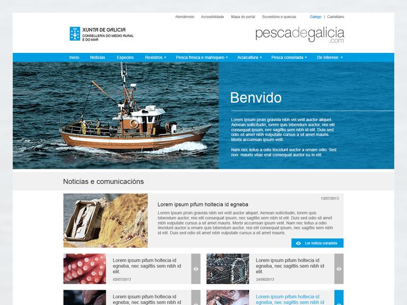 Pesca de Galicia: Fisheries Web web desing fisheries flat web pesca galicia fish