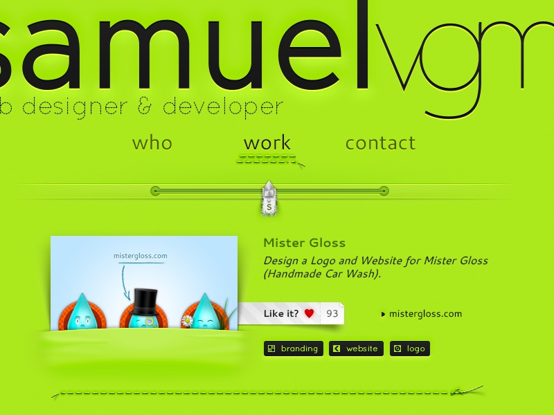 Personal Portfolio slider sew web website portfolio green samuelvgm interface design web design yarn