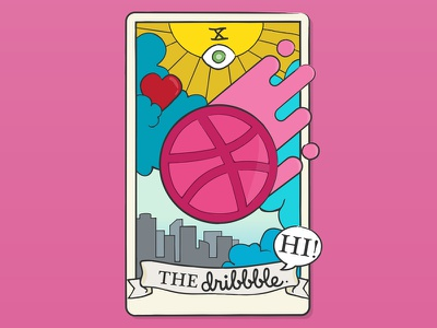Hello Dribble! tarot card dribbble invite debut vector dtla dribbble hello