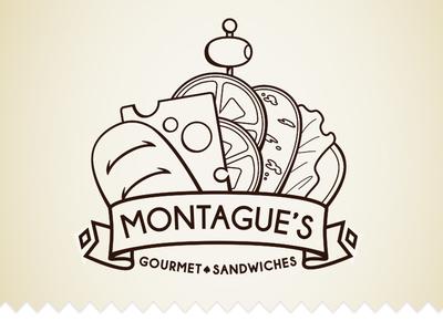 Montague's Gourmet Sandwiches sandwich crown illustration line art deli logo branding