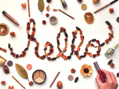 Hello Autumn lettering social media lifestyle hello autumn makeup handmade hand lettering typography