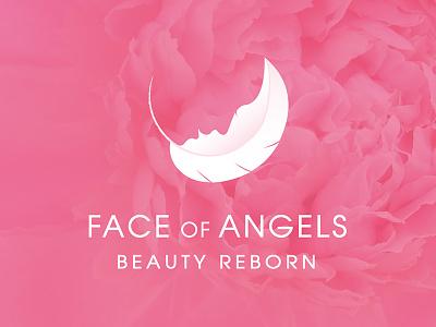 Face of Angels  negativespace face salon angel beauty branding logo