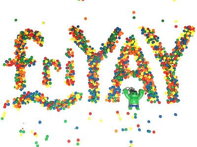 FriYAY Celebration with Mini Hulk rainbow hulk celebrate typography lettering socialmedia friyay