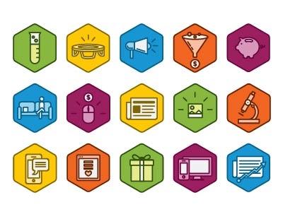 Conversion Marketing Glossary Icons icons design marketing glossary illustration