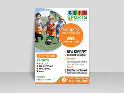 Kids sports flyer poster banners baseball basketball soccer ad flyer design sports kids event flyer artwork design flyer template