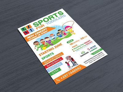 Kids sports flyer. soccer baseball basketball academy flyer design event ad sports kids poster design banners design flyer artwork flyer template