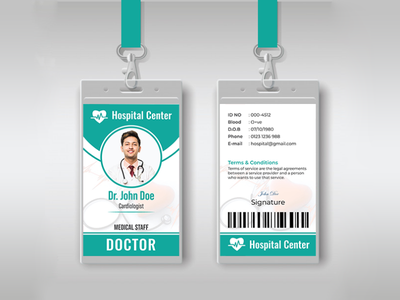 Hospital Staff ID Card Design id card design id card template id card identity branding identity ad doctor medical care hospital employee id card college id card clients advertisement vector