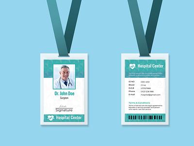 Hospital Staff ID Card Design employee id hospital staff doctor medical branding event illustration id card template id card design id card identity branding identity design identity