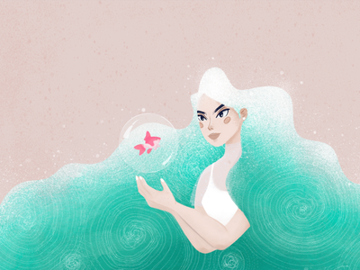 Wave digitalart digital wave illustrator art design 2d designer color illustrator illustration girl art