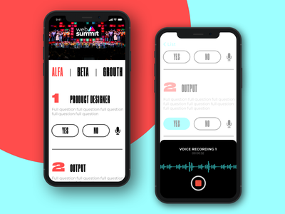 Mobile App Concept cx questionnaire inquirer conference concept photo audio answers simple recorder question websummit minimal voice mobile app ui ux typography branding