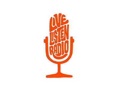Live Listen Radio radio microphone podcast art podcasting podcast jerryokolo itsjerryokolo logotype designer handlettering lettering logo designer custom lettering logotype procreate clientwork typography hand drawn