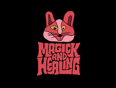 Magick and Healing witchcraft witch wellness meditation magical magic fox psychic spiritual healing logodesign jerryokolo logo designer itsjerryokolo handlettering logotype procreate clientwork typography hand drawn