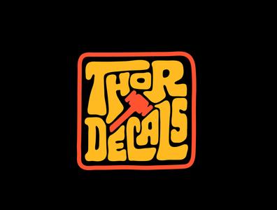 Thor Decals stickerdesigner lettering design thor stickers sticker design stickermule sticker decals hand drawn custom lettering itsjerryokolo procreate handlettering jerryokolo logodesign logotype clientwork typography