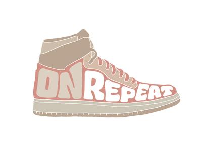On Repeat sneakershop shopify stickerdesign footlocker adidas nike sneaker itsjerryokolo sneakers jerryokolo logodesign logo designer custom lettering handlettering logotype procreate clientwork typography hand drawn