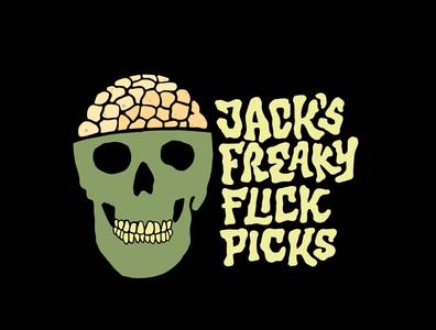 Jack's Freaky Flick Picks tshirtdesign tshirt skeleton skull freakshow pop corn cinema freaky freak custom lettering typography jerryokolo itsjerryokolo logotype handlettering logodesign logo designer clientwork hand drawn