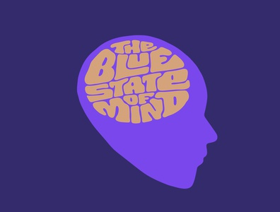 The Blue State of Mind chakra meditation blue psychedelic itsjerryokolo jerryokolo man think brain mind logo design illustration custom lettering handlettering logotype procreate clientwork hand drawn typography