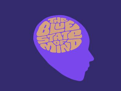 The Blue State of Mind chakra meditation blue psychedelic itsjerryokolo jerryokolo man think brain mind logo design illustration custom lettering handlettering logotype procreate clientwork hand drawn typography