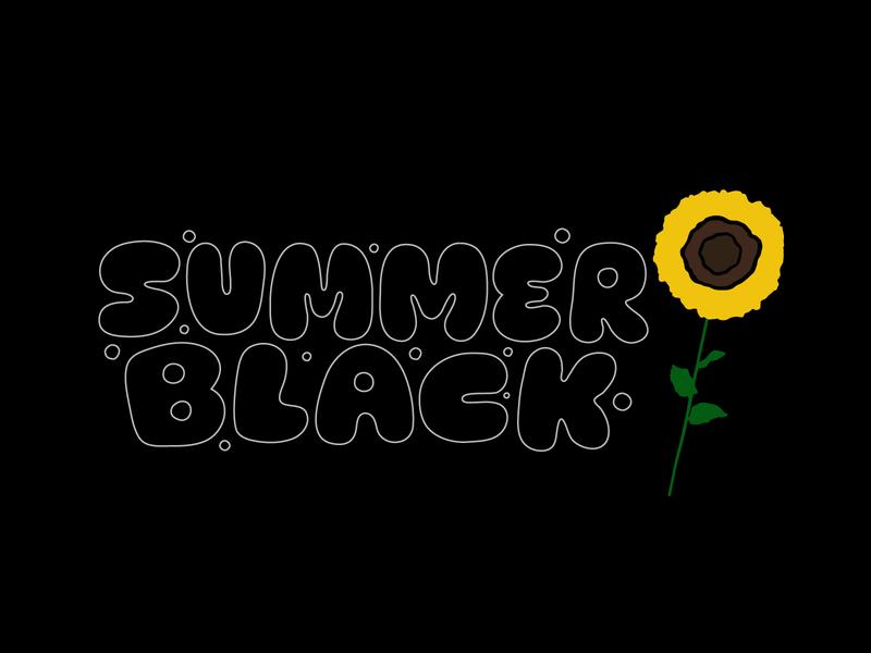 Summer Black bubble flower sunflower black summer jerryokolo itsjerryokolo digitalart logo designer handlettering custom lettering logotype procreate clientwork hand drawn typography