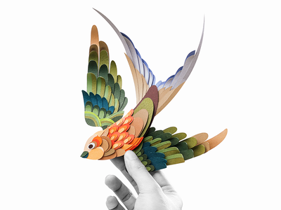 Swallow bird papercut