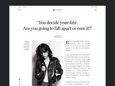 Hypemag Art Magazine typography news header patti smith website ux ui editorial magazine