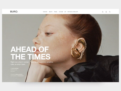 A Global Luxury Online Magazine article page big images luxury prototype clean typography magazine website ux ui