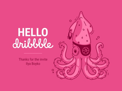 Hello, Dribbble! filibuster hello octopus squid bandage pirate one-eyed pink underwater world tentacles mollusk sea art line art outline vector illustration