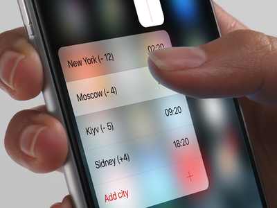3D Touch in WorldsTime App mobile app worldstime timezones ui ux ios 3d touch