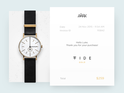 Email Receipt collective minimal clean simple watches aark receipt email dailyui ux ui