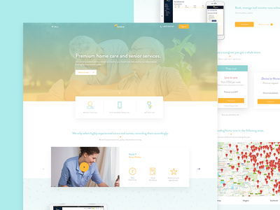 Homepage_10242016 web ux ui elder care simple minimal page landing homepage home design clean