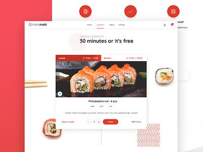makimaki ui japan clean cuisine food delivery meal landing page restaurant sushi