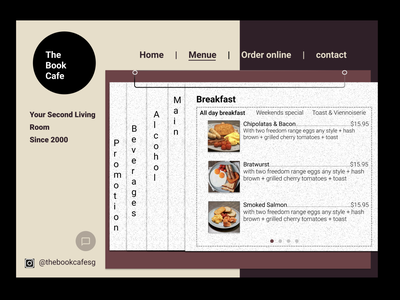 [Book Cafe Redesign] Day 2 Menu_V1 menu menu design website design webdesign redesign-tuesday redesign