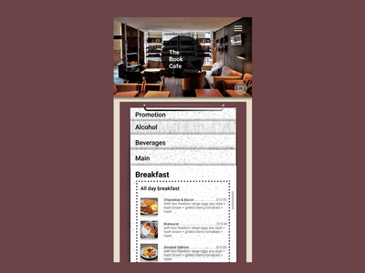 [Book Cafe Redesign] Day 2 Menu_mobile page redesign menu menu design redesign-tuesday webdesign app design